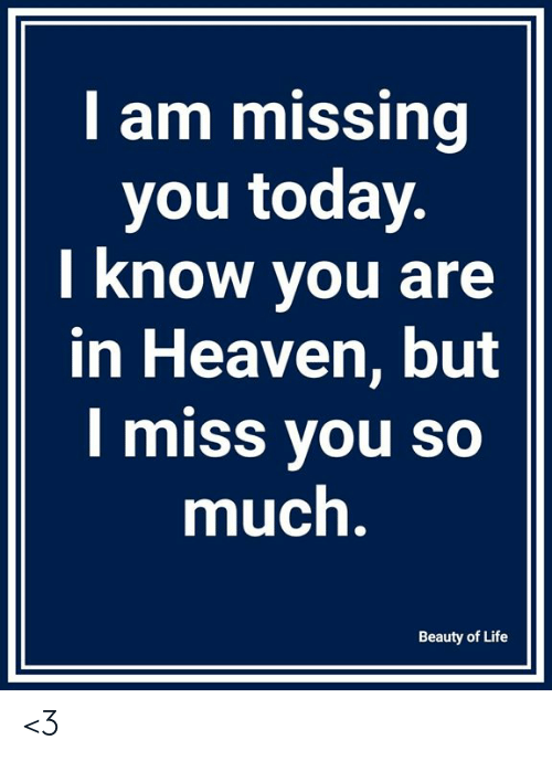 missing you: I am missing  you today  I know you are  in Heaven, but  I miss you so  much  Beauty of Life <3