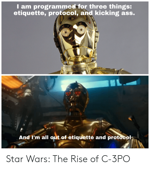 Kicking Ass: I am programmed for three things:  etiquette, protocol, and kicking ass.  And I'm all out of etiquetté and protocol- Star Wars: The Rise of C-3PO