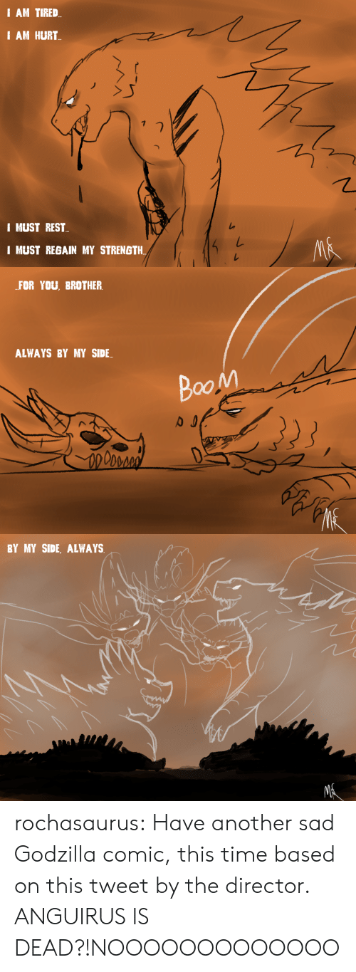 Have Another: I AM TIRED  I AM HURT  I MUST REST  I MUST REGAIN MY STRENGTH  MA   FOR YOU, BROTHER  ALWAYS BY MY SIDE  BooM   BY MY SIDE, ALWAYS  MR rochasaurus:  Have another sad Godzilla comic, this time based on this tweet by the director.  ANGUIRUS IS DEAD?!NOOOOOOOOOOOOO