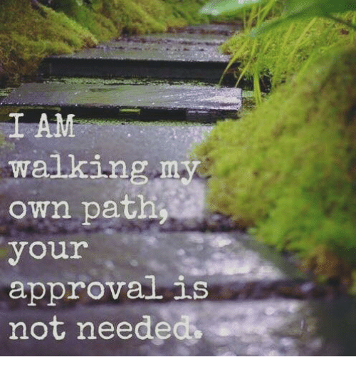 Approvation: I AM  walking  my  own path  your  approval is  not neede