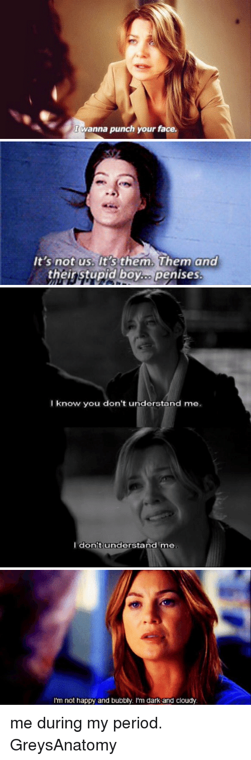 stupid boys: I anna  punch your face.   It's not us. It's them, Them and  their stupid boy.. penises.   I know you don't understand me.  I don't understand me   I'm not happy and bubbly. I'm dark and cloudy me during my period. GreysAnatomy