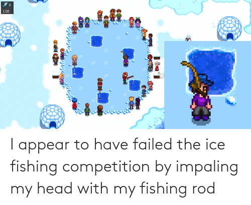 competition: I appear to have failed the ice fishing competition by impaling my head with my fishing rod