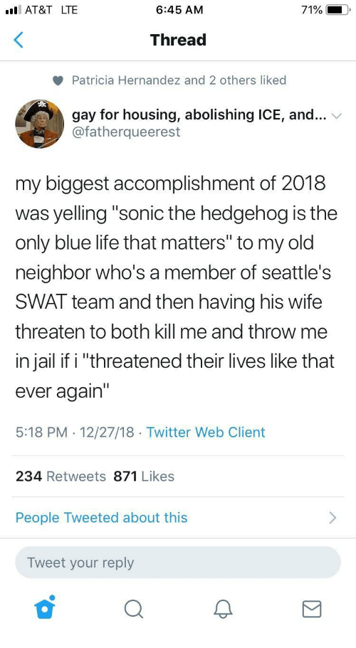 "Hernandezing: I AT&T LTE  6:45 AM  71%  Thread  Patricia Hernandez and 2 others liked  gay for housing, abolishing ICE, and...  @fatherqueerest  my biggest accomplishment of 2018  was yelling ""sonic the hedgehog is the  only blue life that matters"" to my old  neighbor who's a member of seattle's  SWAT team and then having his wife  threaten to both kill me and throw me  in jail if i ""threatened their lives like that  ever again'""  5:18 PM . 12/27/18 Twitter Web Client  234 Retweets 871 Likes  People Tweeted about this  Tweet your reply"