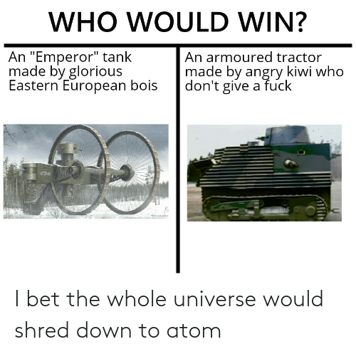 Down To: I bet the whole universe would shred down to atom