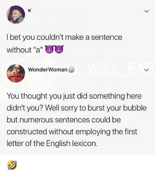 """I Bet, Memes, and Sorry: I bet you couldn't make a sentence  without """"a""""  WonderWoman  You thought you just did something here  didn't you? Well sorry to burst your bubble  but numerous sentences could be  constructed without employing the first  letter of the English lexicon. 🤣"""