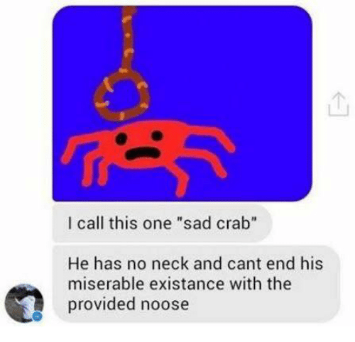 """No Neck: I call this one """"sad crab""""  He has no neck and cant end his  miserable existance with the  provided noose"""