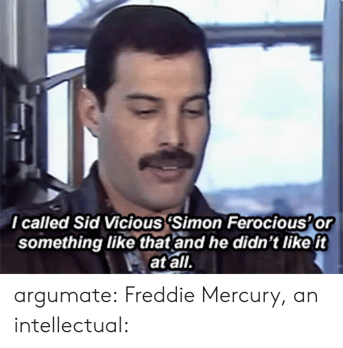 Tumblr, Sid, and Blog: I called Sid Vicious (Simon Ferocious'or  something like that and he didn't like it  at all argumate: Freddie Mercury, an intellectual: