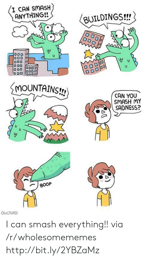 Owlturd: I CAN SMASH  ANYTHING!!  BUILDINGS!!  MOUNTAINS!  CAN YOU  SMASH MY  SADNESS?  BOOP  OWLTURD I can smash everything!! via /r/wholesomememes http://bit.ly/2YBZaMz