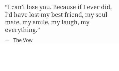 """Best Friend, The Vow, and Lost: """"I can't lose you. Because if I ever did,  I'd have lost my best friend, my soul  mate, my smile, my laugh, my  everything.""""  35  The Vow"""