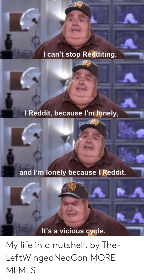 L M: I can't stop Redd  iting.  l Reddit, because l  'm lonely,  and I'm lonely because VReddit.  It's a vicious cycle. My life in a nutshell. by The-LeftWingedNeoCon MORE MEMES