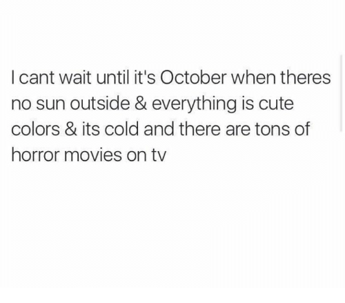 Cute, Dank, and Movies: I cant wait until it's October when theres  no sun outside & everything is cute  colors & its cold and there are tons of  horror movies on tv