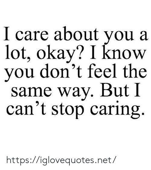 Okay, Net, and You: I care about you a  lot, okay? I know  you don't feel the  same way. But I  can't stop caring https://iglovequotes.net/