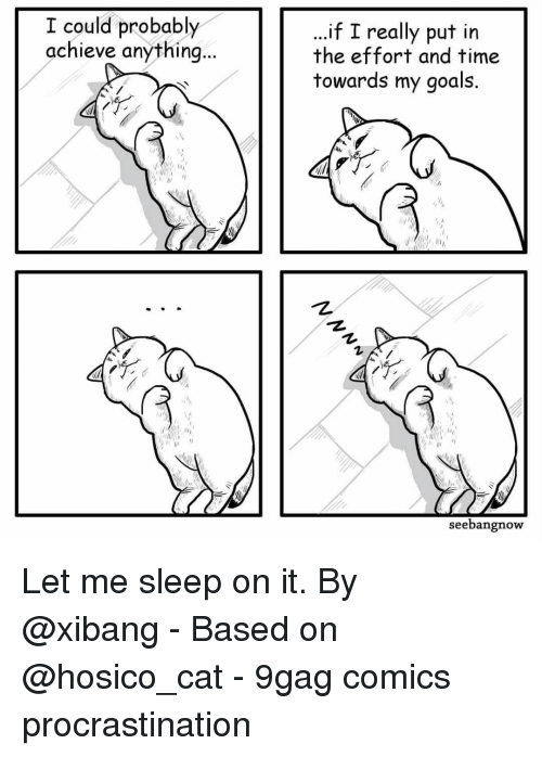 """My Goals: I could probably  achieve anything  ..if I really put in  the effort and time  towards my goals.  1,  """"护  seebangnow Let me sleep on it.⠀ By @xibang⠀ -⠀ Based on @hosico_cat⠀ -⠀ 9gag comics procrastination"""