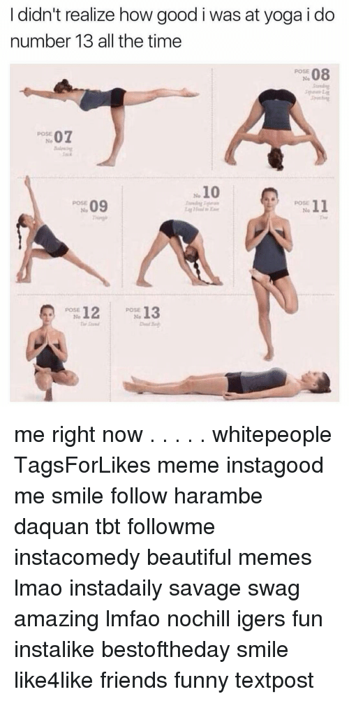 Haramber: I didn't realize how good i was at yoga i do  number 13 all the time  08  POSE  POSE  07  10  09  POSE  11  12  POSE  13  POSE  No me right now . . . . . whitepeople TagsForLikes meme instagood me smile follow harambe daquan tbt followme instacomedy beautiful memes lmao instadaily savage swag amazing lmfao nochill igers fun instalike bestoftheday smile like4like friends funny textpost