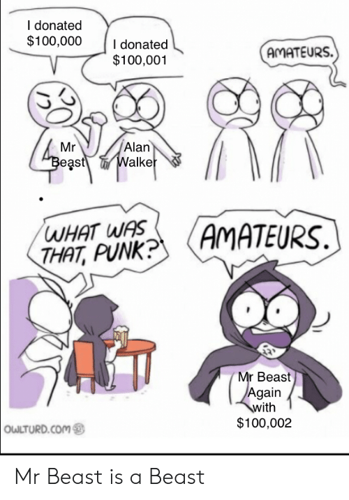 Owlturd: I donated  $100,000  I donated  $100,001  AMATEURS.  Alan  Walker  Mr  Beast  WHAT WAS  THAT, PUNK?  AMATEURS  Mr Beast  Again  with  $100,002  OWLTURD.COM Mr Beast is a Beast
