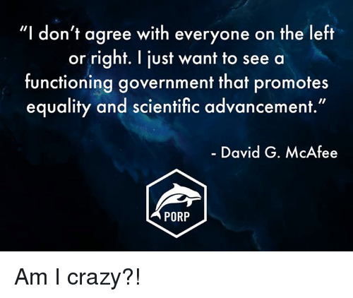 """mcafee: """"I don't agree with everyone on the left  or right. I just want to see a  functioning government that promotes  equality and scientific advancement.""""  David G. McAfee  PORP Am I crazy?!"""