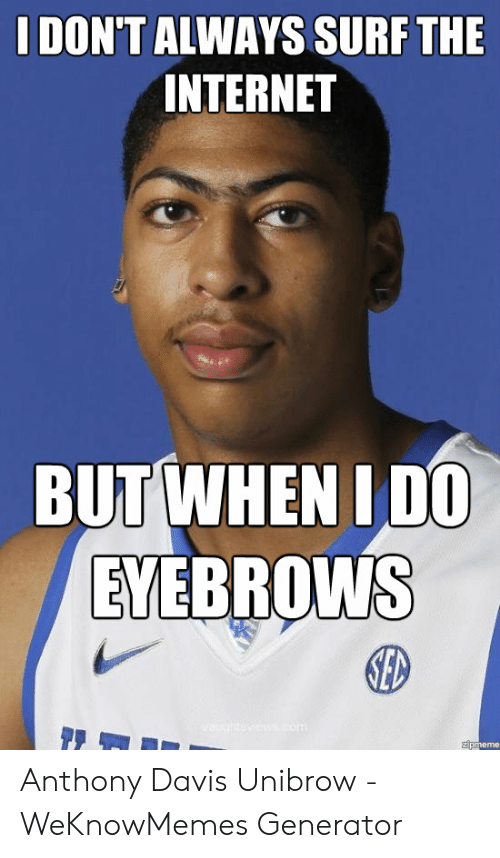 Davis Unibrow: I DON'T ALWAYS SURF THE  INTERNET  EVERROWNS  ED  zpmeme Anthony Davis Unibrow - WeKnowMemes Generator