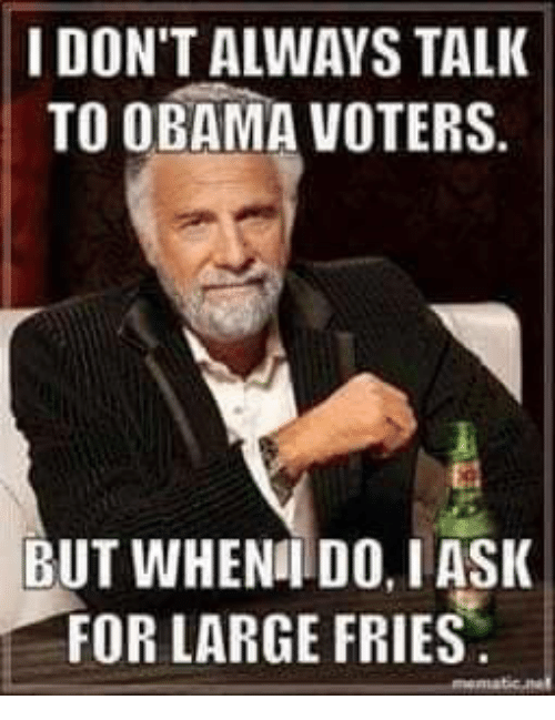 Memes, Obama, and 🤖: I DON'T ALWAYS TALK  TO OBAMA VOTERS.  BUT WHENI DO, IASK  FOR LARGE FRIES