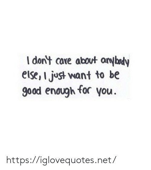 care: I don't care about anybody  else, I just want to be  good enough for you. https://iglovequotes.net/