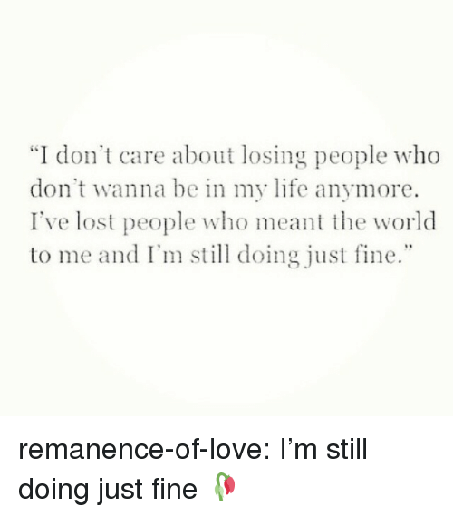 "Life, Love, and Target: ""I don't care about losing people who  don't wanna be in my life anymore.  I've lost people who meant the world  to me and I' doing just fine."" remanence-of-love:  I'm still doing just fine 🥀"