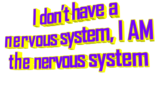 nervous: I don't have a  nervous system, I AM  the nervous system