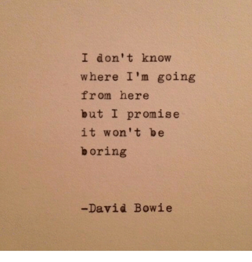David Bowie: I don't knovw  where I'm going  from here  but I promise  it won't be  boring  -David Bowie