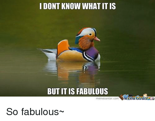 fabulousness: I DONT KNOW WHAT IT IS  BUT IT IS FABULOUS  Menetenler  memecenter-com So fabulous~