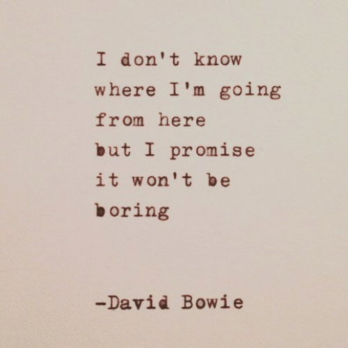 David Bowie: I don't know  where I'm going  from here  but I promise  it won't be  boring  -David Bowie