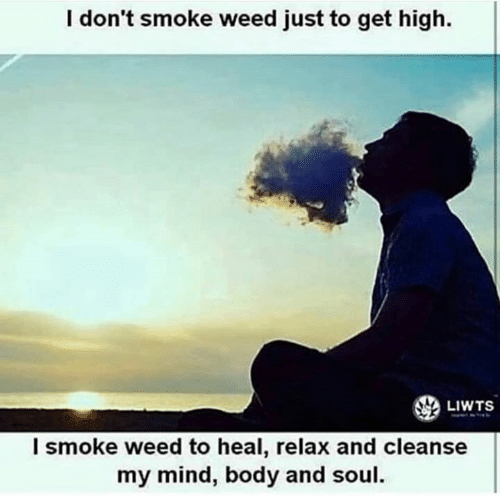 Cleanse: I don't smoke weed just to get high.  LIWTS  l smoke weed to heal, relax and cleanse  my mind, body and soul.