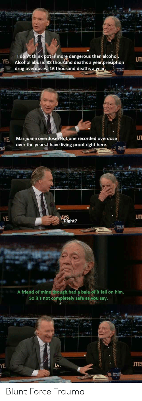 uti: I don't think pot is more dangerous than alcohol  Alcohol abuse 88 thousand deaths a year,presiption  drug overdoses 16 thousand deaths ayear  UTI  YE  UT  YE Marijuana overdose?Not.one recorded overdose  over the years.l have living proof right here.  YE  UT  ight?  A friend of mine though,had a bale of it fall on him.  So it's not completely safe as you say.  UTES  YE Blunt Force Trauma