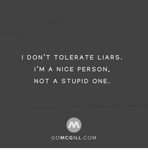 Nice, Com, and One: I DON'T TOLERATE LIARS  I'M A NICE PERSON  NOT A STUPID ONE  GOMCGILL.COM