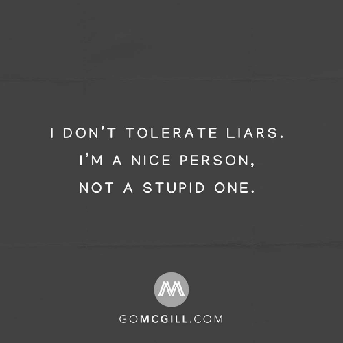 Nice Person: I DON'T TOLERATE LIARS.  I'M A NICE PERSON,  NOT A STUPID ONE.  GOMCGILL.COM