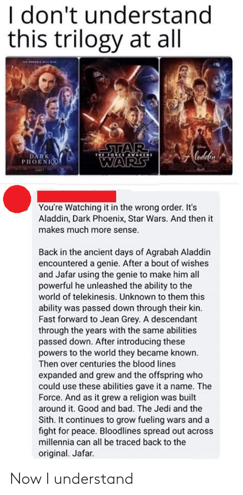 Became: I don't understand  this trilogy at all  STAR  OCE AVARIS  Cadlin  DA RK  PHOENI  WARS  You're Watching it in the wrong order. It's  Aladdin, Dark Phoenix, Star Wars. And then it  makes much more sense.  Back in the ancient days of Agrabah Aladdin  encountered a genie. After a bout of wishes  and Jafar using the genie to make him all  powerful he unleashed the ability to the  world of telekinesis. Unknown to them this  ability was passed down through their kin.  Fast forward to Jean Grey. A descendant  through the years with the same abilities  passed down. After introducing these  powers to the world they became known.  Then over centuries the blood lines  expanded and grew and the offspring who  could use these abilities gave it a name. The  Force. And as it grew a religion was built  around it. Good and bad. The Jedi and the  Sith. It continues to grow fueling wars and a  fight for peace. Bloodlines spread out across  millennia can all be traced back to the  original. Jafar. Now I understand