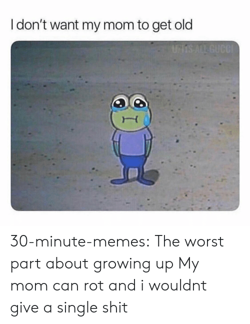 rot: I don't want my mom to get old 30-minute-memes:  The worst part about growing up  My mom can rot and i wouldnt give a single shit
