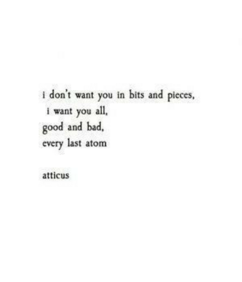 I Dont Want You: i don't want you in bits and pieces,  i want you all  good and bad,  every last atom  atticus
