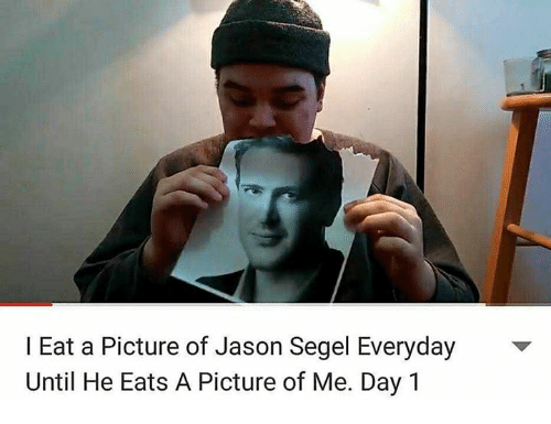 Segels: I Eat a Picture of Jason Segel Everyday  Until He Eats A Picture of Me. Day 1