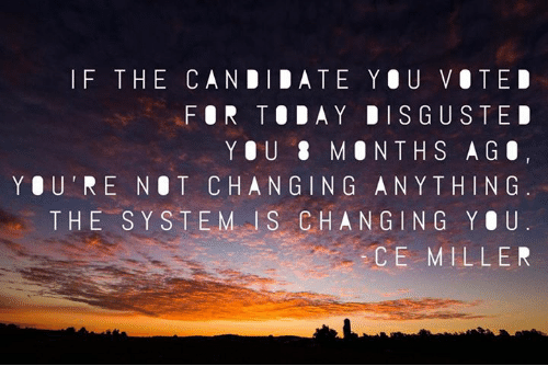 Memes, Candide, and Stem: I F THE CANDIDATE YOU VOTED  FOR TODAY DISGUSTED  Y O U  8 M O N TH S A G O  YOU' RE NOT CHANGING ANYTHING  THE  S Y STEM l S CHANGING YOU  CE MILLER