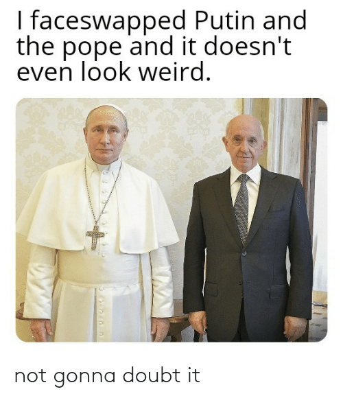 Putin: I faceswapped Putin and  the pope and it doesn't  even look weird. not gonna doubt it