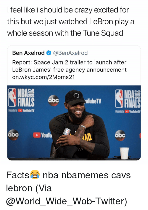 Abc, Basketball, and Cavs: I feel like i should be crazy excited for  this but we just watched LeBron play a  whole season with the Tune Squad  Ben Axelrod @BenAxelrod  Report: Space Jam 2 trailer to launch after  LeBron James' free agency announcement  on.wkyc.com/2Mpms21  NBA  FINALS  siTubeTV  abc  abc  abc Facts😂 nba nbamemes cavs lebron (Via @World_Wide_Wob-Twitter)