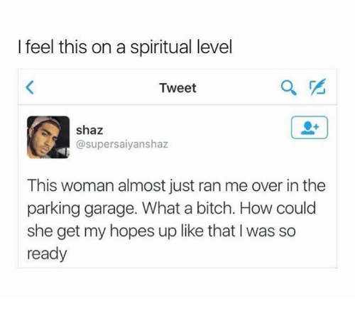 Memes, 🤖, and Tweet: I feel this on a spiritual level  Tweet  shaz  supersaiyanshaz  This woman almost just ran me over in the  parking garage. What a bitch. How could  she get my hopes up like that was so  ready