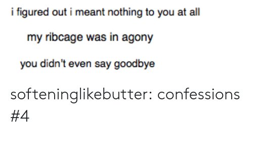 Tumblr, Blog, and Http: i figured out i meant nothing to you at al  my ribcage was in agony  you didn't even say goodbye softeninglikebutter:  confessions #4