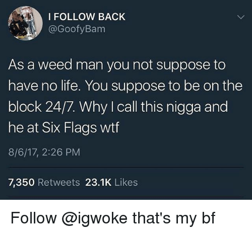 No Lifes: I FOLLOW BACK  @GoofyBanm  As a weed man you not suppose to  have no life. You suppose to be on the  block 24/7. Why I call this nigga and  he at Six Flags wtf  8/6/17, 2:26 PM  7,350 Retweets 23.1K Likes Follow @igwoke that's my bf