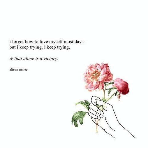 keep trying: i forget how to love myself most days.  but i keep trying. i keep trying  & that alone is a victory  alison malec