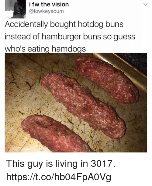 the vision: i fw the vision  @lowkeyscum  Accidentally bought hotdog buns  instead of hamburger buns so guess  who's eatina hamdogs This guy is living in 3017. https://t.co/hb04FpA0Vg