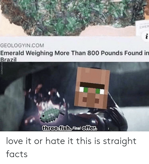 Facts, Love, and Brazil: i  GEOLOGYIN.COM  Emerald Weighing More Than 800 Pounds Found in  Brazil  three fish, Final offer.  DOPAMEM love it or hate it this is straight facts