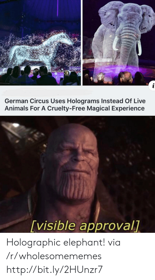 Cruelty: i  German Circus Uses Holograms Instead Of Live  Animals For A Cruelty-Free Magical Experience  [visible approval] Holographic elephant! via /r/wholesomememes http://bit.ly/2HUnzr7