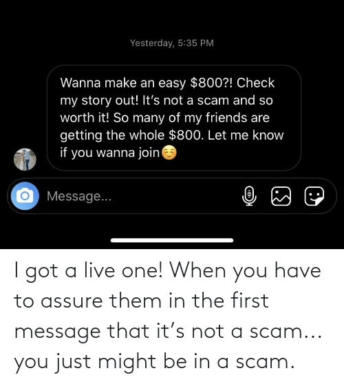When You Have: I got a live one! When you have to assure them in the first message that it's not a scam... you just might be in a scam.
