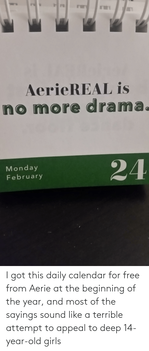 year-old-girls: I got this daily calendar for free from Aerie at the beginning of the year, and most of the sayings sound like a terrible attempt to appeal to deep 14-year-old girls