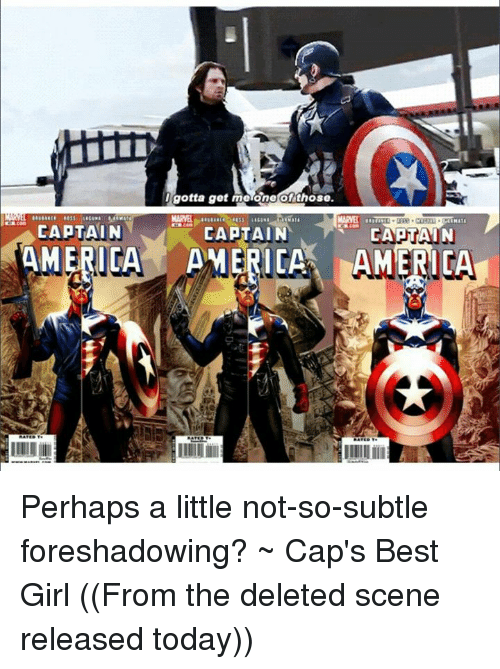 America, Girls, and Avengers: I gotta get me one of those  MARVEL  CAPTAIN  CAPTAIN  ERICA  AMERICA AMERICA Perhaps a little not-so-subtle foreshadowing? ~ Cap's Best Girl  ((From the deleted scene released today))