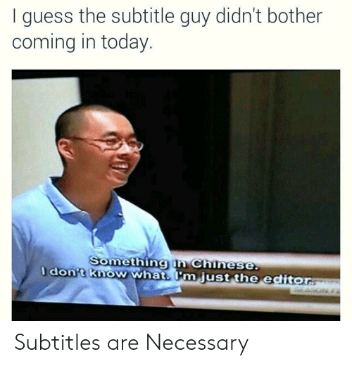Subtitle: I guess the subtitle guy didn't bother  coming in today  Somethingin Chinese  dont know what m just the editor Subtitles are Necessary